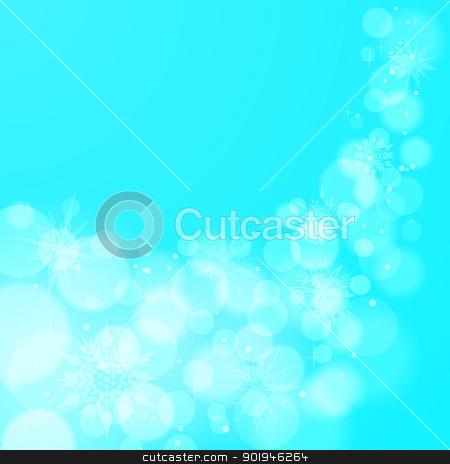 Abstract Christmas background with snowflakes stock vector clipart, Light blue abstract Christmas EPS10 vector background with snowflakes. by Allaya