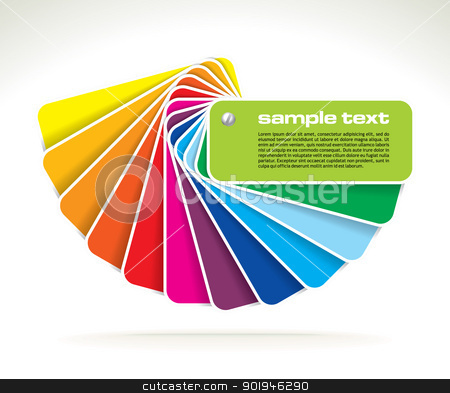 vector colour guide stock vector clipart, colour guide with sample text- vector illustration by Ilyes Laszlo