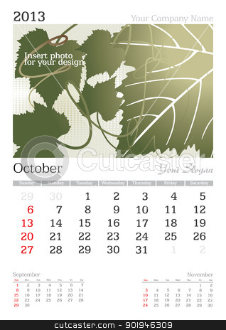 October 2013 A3 calendar stock vector clipart, 2013 A3 calendar - vector illustration by ojal_2