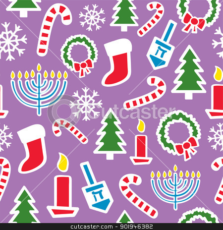 Seamless Winter Holidays stock vector clipart, A seamless pattern of Christmas and Hanukkah shapes and icons. by Jamie Slavy