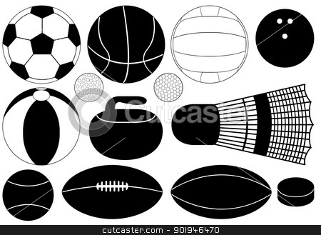 game balls stock vector clipart, Set of game balls illustration on white background by Smultea Simona