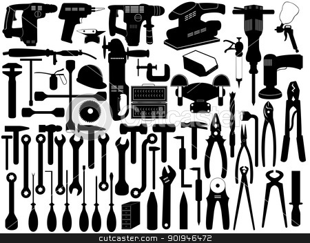 tools stock vector clipart, set of different tools isolated on white by Iliuta
