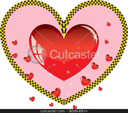 Valentines ornament with red love heart taxi vector illustration stock photo, Valentines ornament with red love heart taxi vector illustration by aarrows