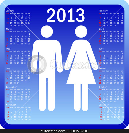 Stylish calendar family for 2013. Week starts on Sunday. stock photo, Stylish calendar family for 2013. Week starts on Sunday. by aarrows