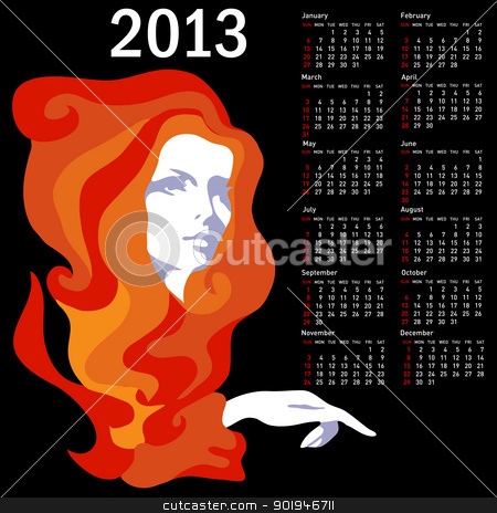Stylish calendar with woman  for 2013. Week starts on Sunday. stock photo, Stylish calendar with woman  for 2013. Week starts on Sunday. by aarrows