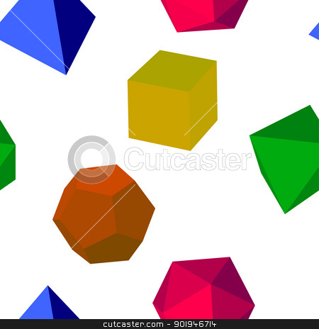 Seamless colorfull 3d vector geometric shapes  stock photo, 3d  colorfull  vector geometric shapes seamless by aarrows