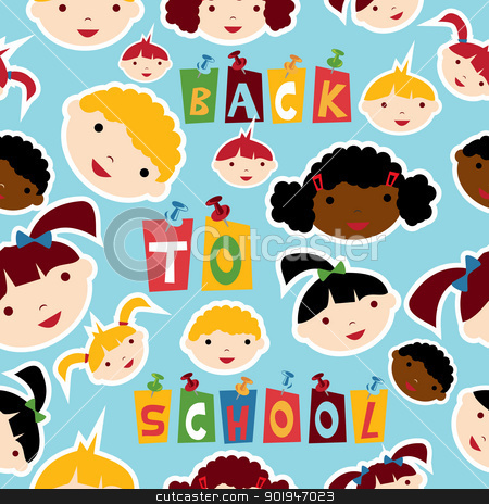 Multi-racial education pattern stock vector clipart, Diversity racial back to school children faces seamless pattern. Vector illustration layered for easy manipulation and custom coloring. by Cienpies Design