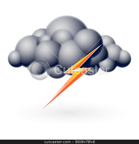 Bubble Cloud stock photo, Bubble Cloud with Lightning. Illustration on white by dvarg