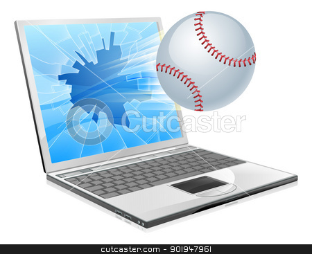 Baseball ball laptop stock vector clipart, Illustration of a baseball ball flying out of a broken laptop computer screen by Christos Georghiou