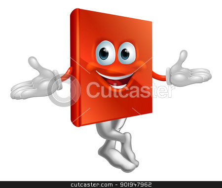 Book mascot man stock vector clipart, Cartoon book mascot man with a big grin and crossed legs  by Christos Georghiou