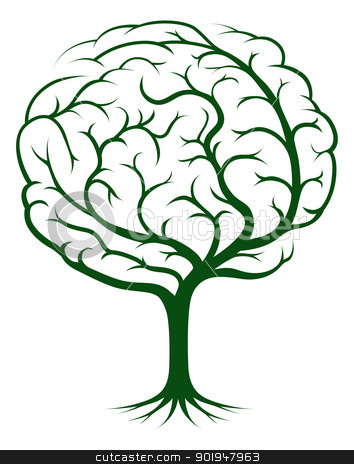 Brain tree illustration stock vector clipart, Brain tree illustration, tree of knowledge, medical, environmental or psychological concept by Christos Georghiou
