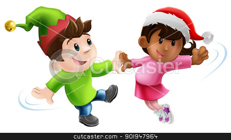 Fun Xmas Dancers stock vector clipart, Illustration of two young people in Christmas costume having a dance together by Christos Georghiou