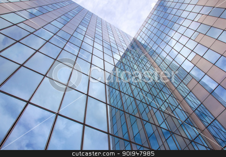 modern blue facade of glass and steel with cloudy sky stock photo, modern blue facade of glass and steel with cloudy sky and reflections by anton havelaar