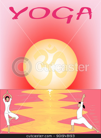 Sunset Asana stock vector clipart, A yoga poster set on a pink oriental sunset. by Kotto