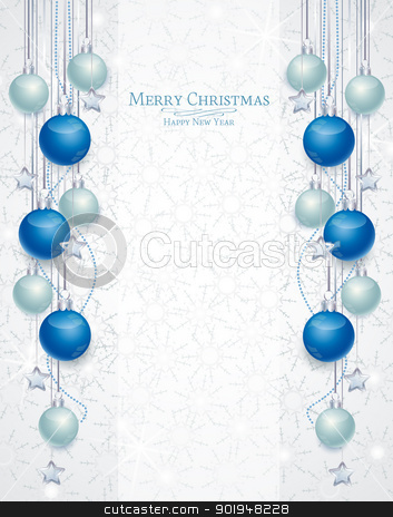 Christmas background stock vector clipart, Christmas background with balls and snowflakes  by Miroslava Hlavacova