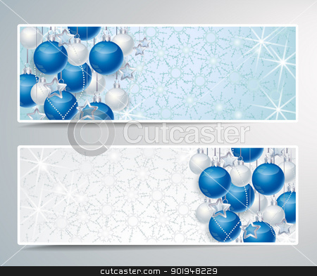 Christmas background stock vector clipart, Two banners with Christmas decoration balls by Miroslava Hlavacova