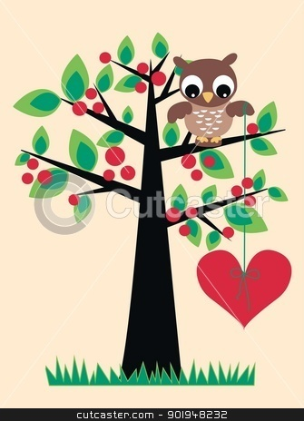 owl love tree stock vector clipart, owl love tree by Popocorn