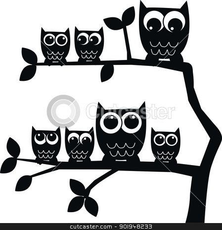a group of owls in a tree stock photo, silhouette of a group of owls in a tree by Popocorn