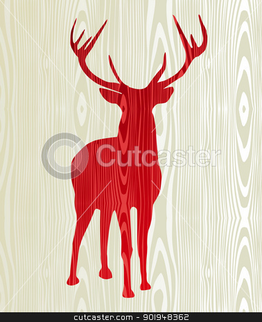 Christmas wooden reindeer silhouette stock vector clipart, Christmas wood reindeer silhouette postcard background. Vector file layered for easy manipulation and custom coloring. by Cienpies Design