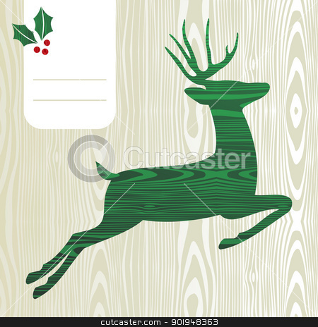 Wooden Christmas deer silhouette stock vector clipart, Wood textured Deer with christmas decorations greeting card background. Vector file layered for easy manipulation and custom coloring. by Cienpies Design