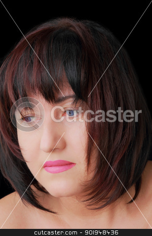 Woman with blue eyes stock photo, Portrait of woman with blue eyes and dark hair by Julialine