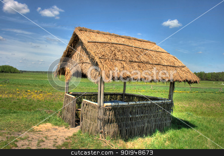 reed stock photo, wooden arbour with a roof from a reed by Oleksandr Pakhay