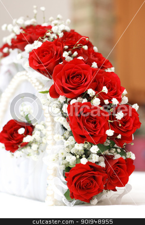 Red Fan stock photo, Wedding fan of red roses by Oleksandr Pakhay