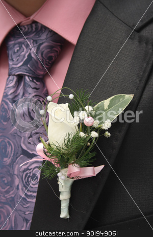 Groom stock photo, groom. On the jacket attached flower. by Oleksandr Pakhay