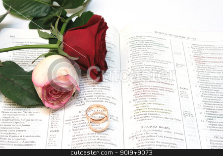 Rings stock photo, Two red roses and wedding rings on Bible by Oleksandr Pakhay