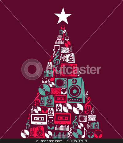 Christmas music objects tree stock vector clipart, Dj music retro icon set in Christmas pine tree shape illustration background. Vector illustration layered for easy manipulation and custom coloring. by Cienpies Design