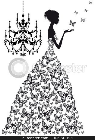 woman with butterflies, vector stock vector clipart, woman with butterflies and vinatge chandelier, vector silhoutte by Beata Kraus