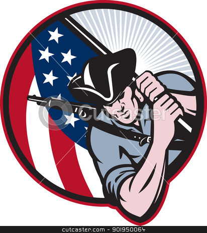 American Patriot Minuteman With Flag stock vector clipart, Illustration of an American patriot minuteman revolutionary soldier with stars and stripes flag set inside circle done in retro style. by patrimonio