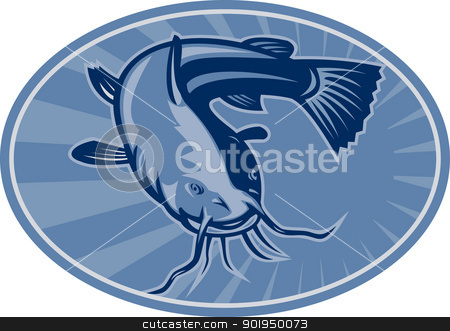 Bullhead Catfish Retro Woodcut stock vector clipart, Illustration of a bullhead catfish fish swimming front set inside ellipse done in retro woodcut style. by patrimonio