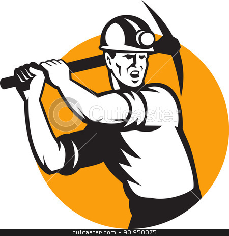 Coal Miner Working Pick Ax Retro stock vector clipart, Illustration of a coal miner striking working using pick axe done in retro woodcut style set inside circle. by patrimonio
