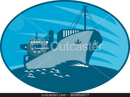 Container Cargo Freighter Ship Retro  stock vector clipart, Illustration of a container cargo freighter ship sailing on sea done in retro style set inside ellipse. by patrimonio