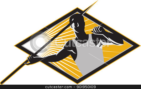 Track and Field Athlete Javelin Throw Retro stock vector clipart, Illustration of a track and field athlete javelin throw spear throwing set inside diamond done in retro woodcut style. by patrimonio