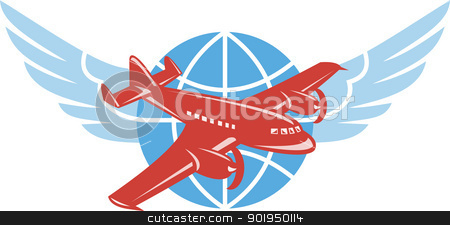 Propeller Airplane Wings Globe Retro stock vector clipart, Illustration of a propeller airplane in flight with globe and pair of wings done in retro style. by patrimonio