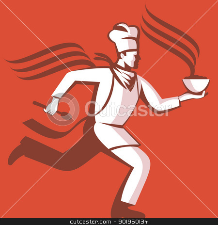 Chef Cook Baker Running With Soup Bowl stock vector clipart, Illustration of a chef cook baker running with spoon and bowl of hot food viewed from side done in retro style. by patrimonio