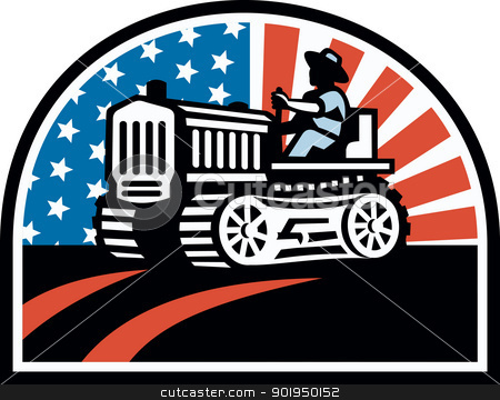 American Farmer Riding Vintage Tractor stock vector clipart, Illustration of a farmer plowing the field with his vintage tractor done in retro style with American stars and stripes flag. by patrimonio