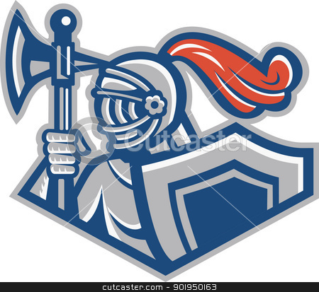 Knight With Spear Axe And Shield stock vector clipart, Illustration of a knight with spear ax and shield viewed from side done in retro style. by patrimonio
