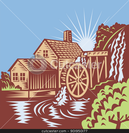 Water Wheel Mill House Retro stock vector clipart, Illustration of a ...