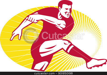 Rugby Player Kicking Ball Retro stock vector clipart, Illustration of a rugby player kicking ball ball done in retro style set inside ellipse. by patrimonio