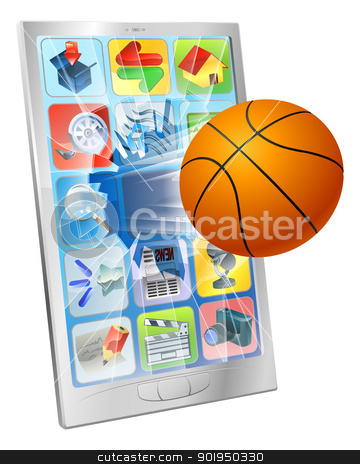 Basketball ball mobile phone stock vector clipart, Illustration of a basketball ball flying out of mobile phone screen by Christos Georghiou
