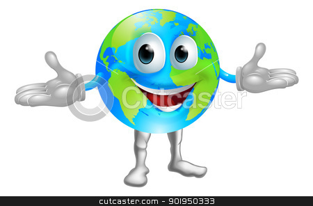 World globe character stock vector clipart, Illustration of a happy world globe character standing with hands out by Christos Georghiou