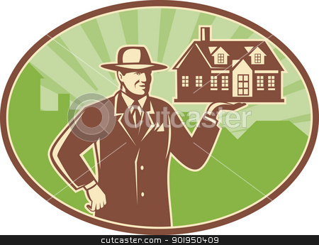 Realtor Real Estate Salesman House Retro stock vector clipart, Illustration of a realtor real estate agent salesman holding a house for sale done in retro woodcut style set inside ellipse. by patrimonio