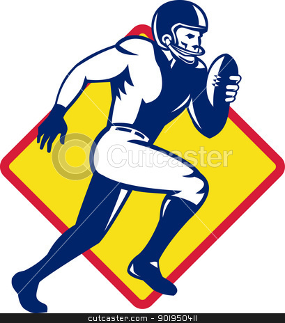 American Quarterback Football Player Running stock vector clipart, Illustration of an american quarterback football player running with ball set inside diamond shape done in retro style.
