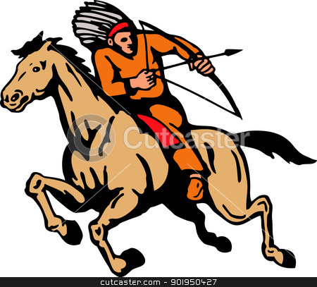 American Indian Riding Horse Bow And Arrow stock vector clipart, Illustration  of American Indian riding a horse shooting arrow with bow on isolated white background. by patrimonio