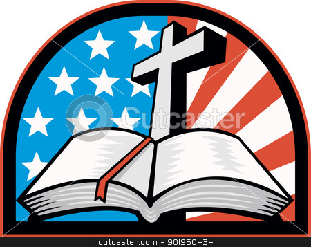Bible With Cross American Stars Stripes stock vector clipart, Illustration of the holy bible with cross and American flag stars and stripes. by patrimonio
