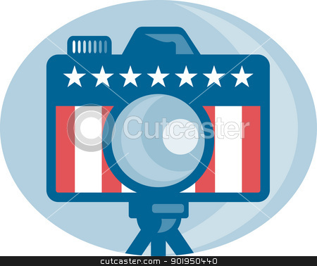 American DSLR Camera Stars and Stripes Flag stock vector clipart, Illustration of a dslr camera with american stars and stripes flag set inside circle done in retro style. by patrimonio