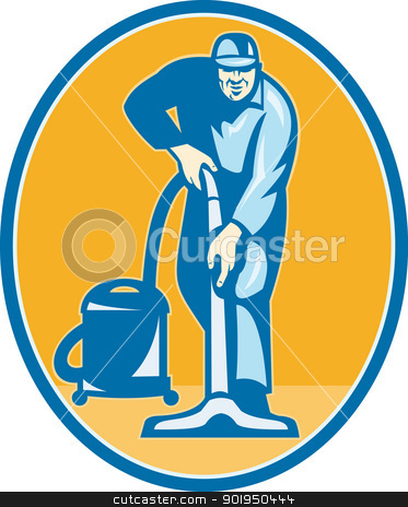 Cleaner Janitor Worker Vacuum Cleaning stock vector clipart, Illustration of a janitor cleaner worker vacuum cleaning facing front set inside ellispe done in retro style. by patrimonio